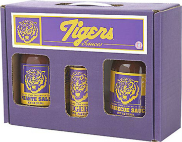 Louisiana State University Tigers Tailgate Party Pack - Hot Sauce, Salsa, and BBQ Sauce