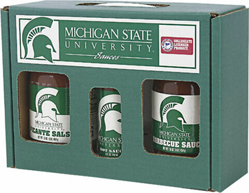 Michigan State Spartans Tailgate Party Pack - Hot Sauce, Salsa, and BBQ Sauce